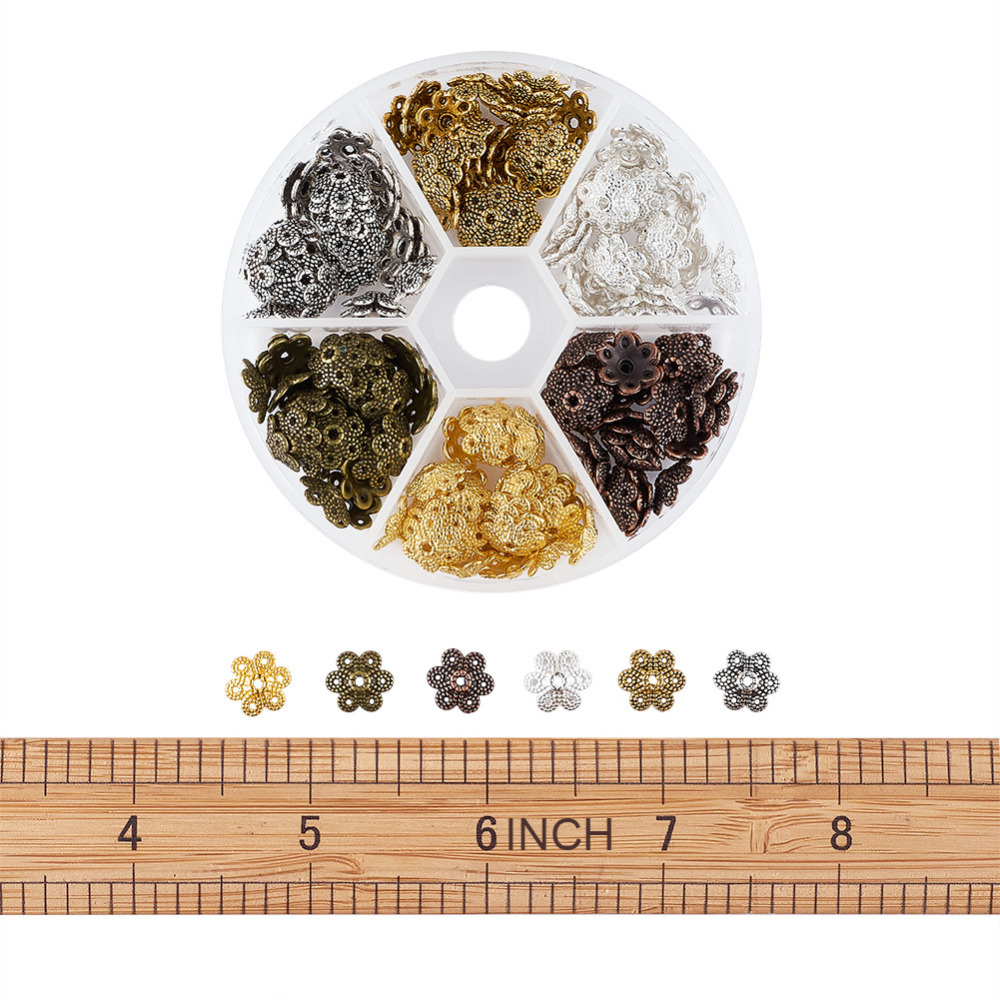 Hole: 1mm 6x1mm Pandahall 1 Box About 1200pcs 6 Color Flower Iron Bead Caps for Jewelry Making
