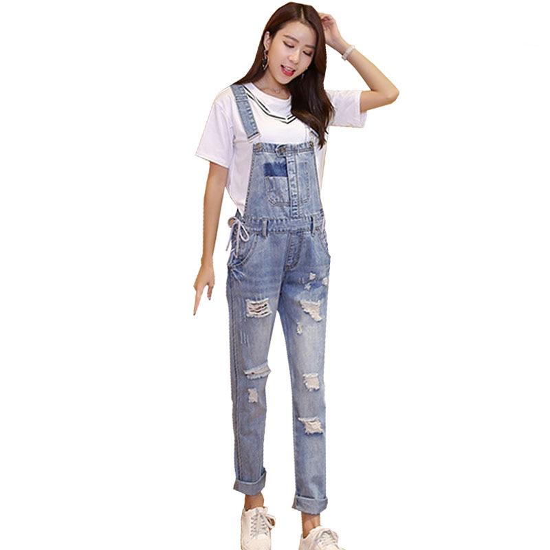 18de4d95b676 Hole Jeans Maternity Overalls Straps Pants For Pregnant Women Cotton Denim Pregnancy  Braced Suspenders Bibs Rompers Clothing