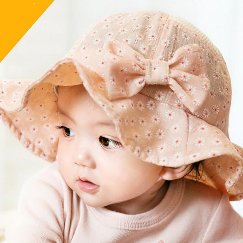 e87e868bb78 Newborn Baby Summer Outdoor Bucket Hat Children Bowknot Cap 100% Cotton Sun  Beach Cap Cute Baby Girls Sun Hats Free Shipping-in Hats   Caps from Mother  ...