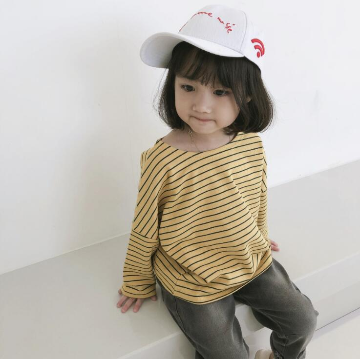 2018 best selling girls boys striped t-shirt cotton spring autumn long sleeve kids top 2-7t HB148