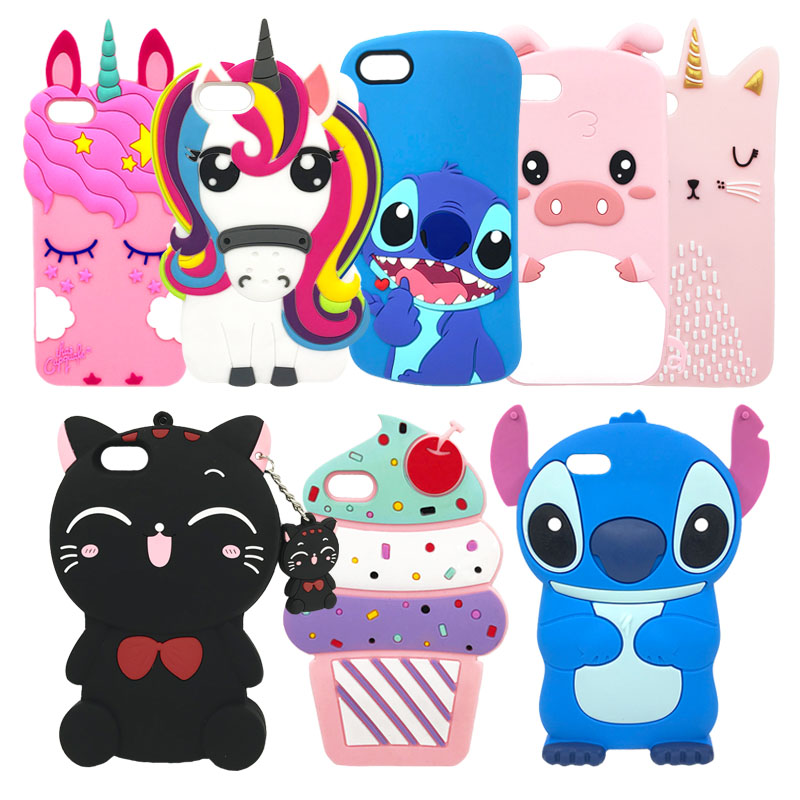 Cartoon Silicone Phone <font><b>Case</b></font> For <font><b>iPhone</b></font> 7 <font><b>8</b></font> Plus Cute 3D Unicorn Minnie <font><b>Cat</b></font> Cover For <font><b>iPhone</b></font> X XS 6 6S Plus 5 5S SE Coque Fundas image