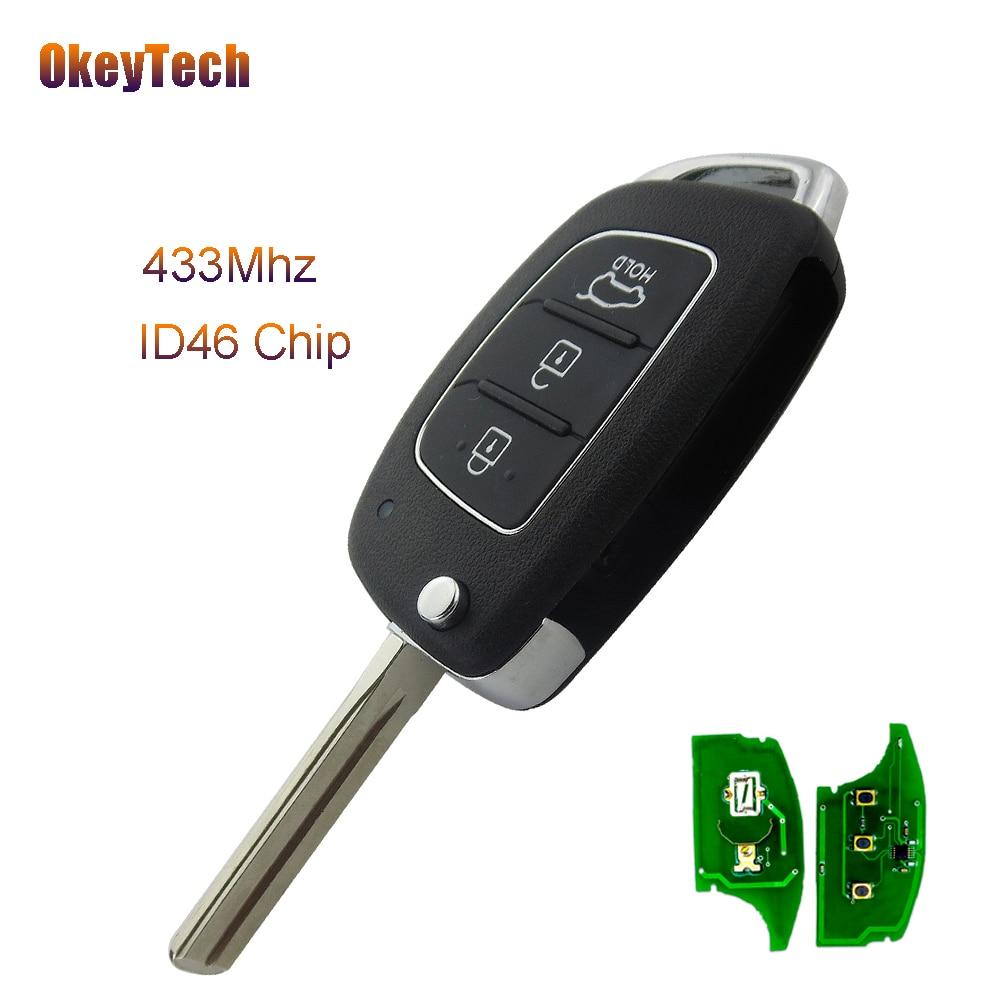 Okeytech Дистанционное управление Ключи 433 мГц ID46 чип Флип складной лезвие 3 кнопки дистанционного ключа для Hyundai ix35 Santa Fe 2013 2014 2015