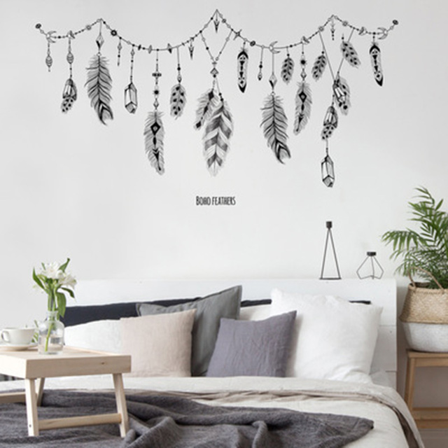US $9.56 25% OFF|Creative Feather Hanging Art Wall Decals Home Decor Kids  Room Living Room Bedroom Wall Graphic Cute Pattern Moon Sun Wallpaper -in  ...