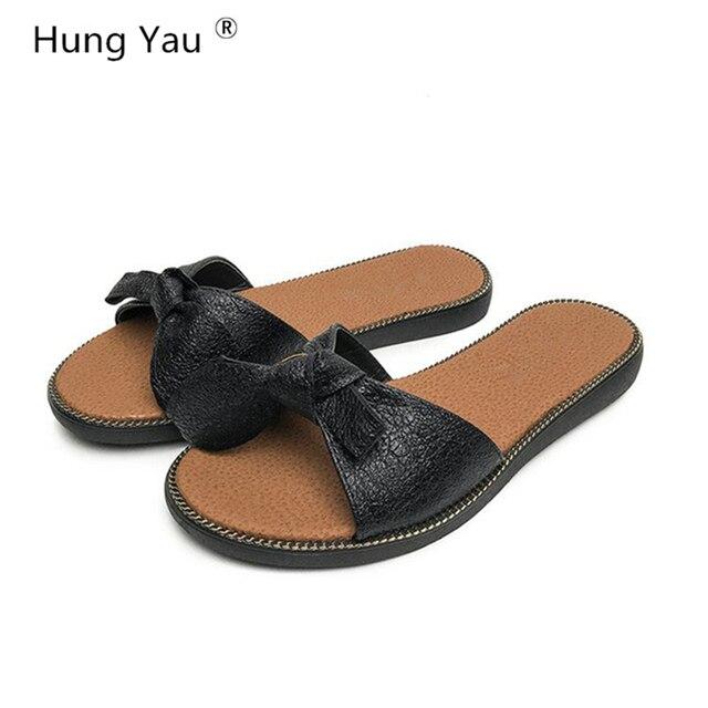 907f21482f768c Hung Yau Women Sandals Flips Flops Summer Style Shoes Woman Sliper Sandals  Fashion Bow-Tie Platform Female Slides Ladies Shoes