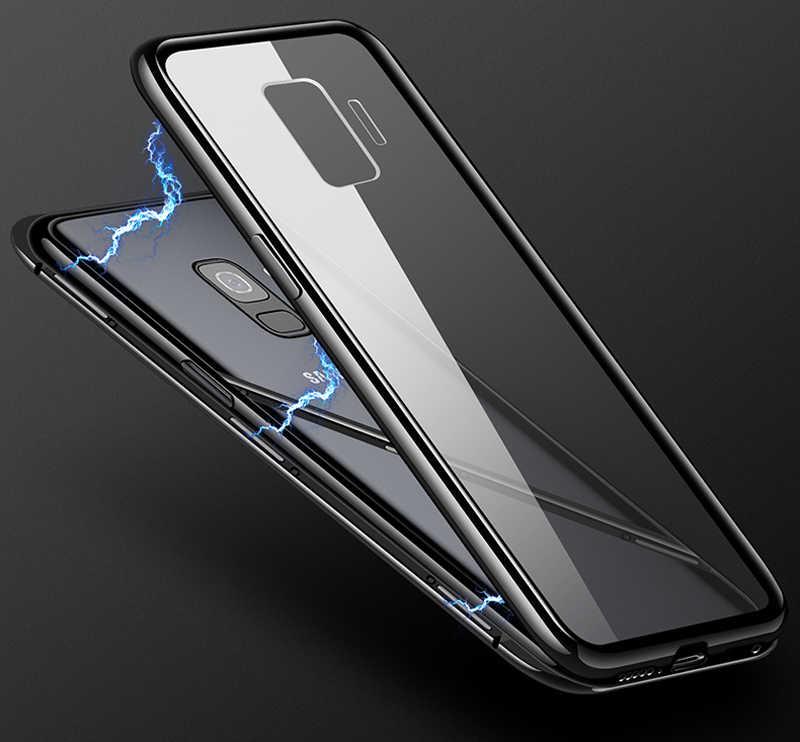 การดูดซับแม่เหล็กกรณีโลหะสำหรับ Samsung Galaxy S8 S9 S10 Plus S10E S7 ขอบหมายเหตุ 8 9 M20 M10 A30 a50 A7 A8 A9 J4 J6 Plus 2018