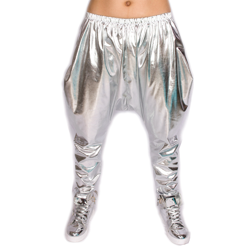 Heroprose Brand 2017 New Personality Silver Big Crotch Trousers Stage Performance Costumes Harem Pants Hip Hop Skinny Pants