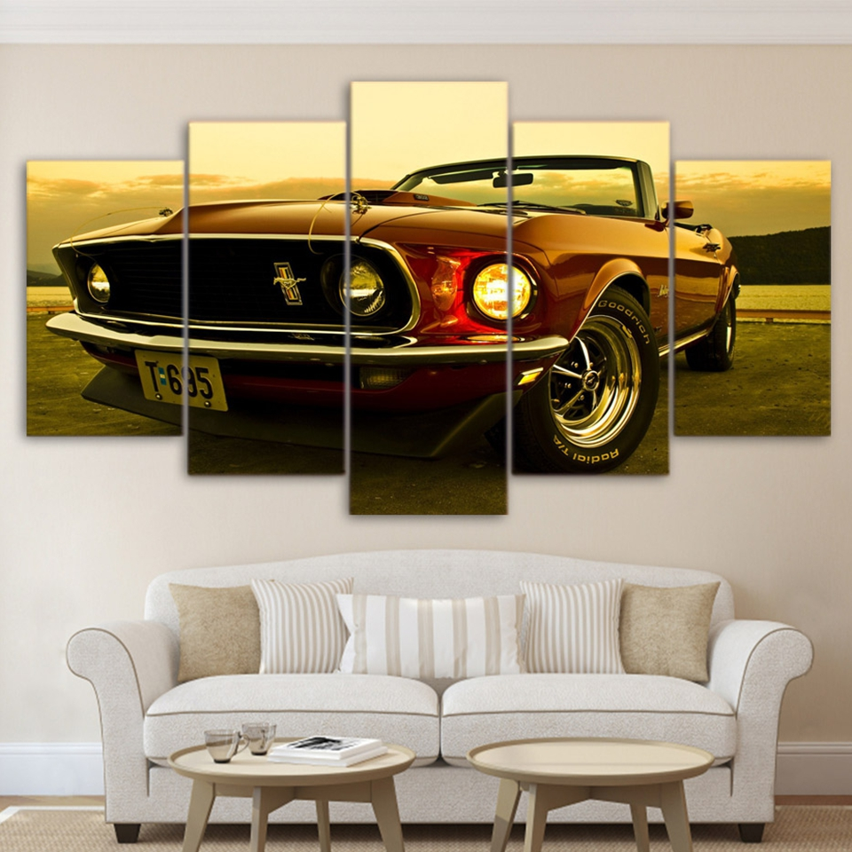 Modulare Wandkunst Gemälde HD Gedruckt Moderne Auto Poster Rahmen 5 ...
