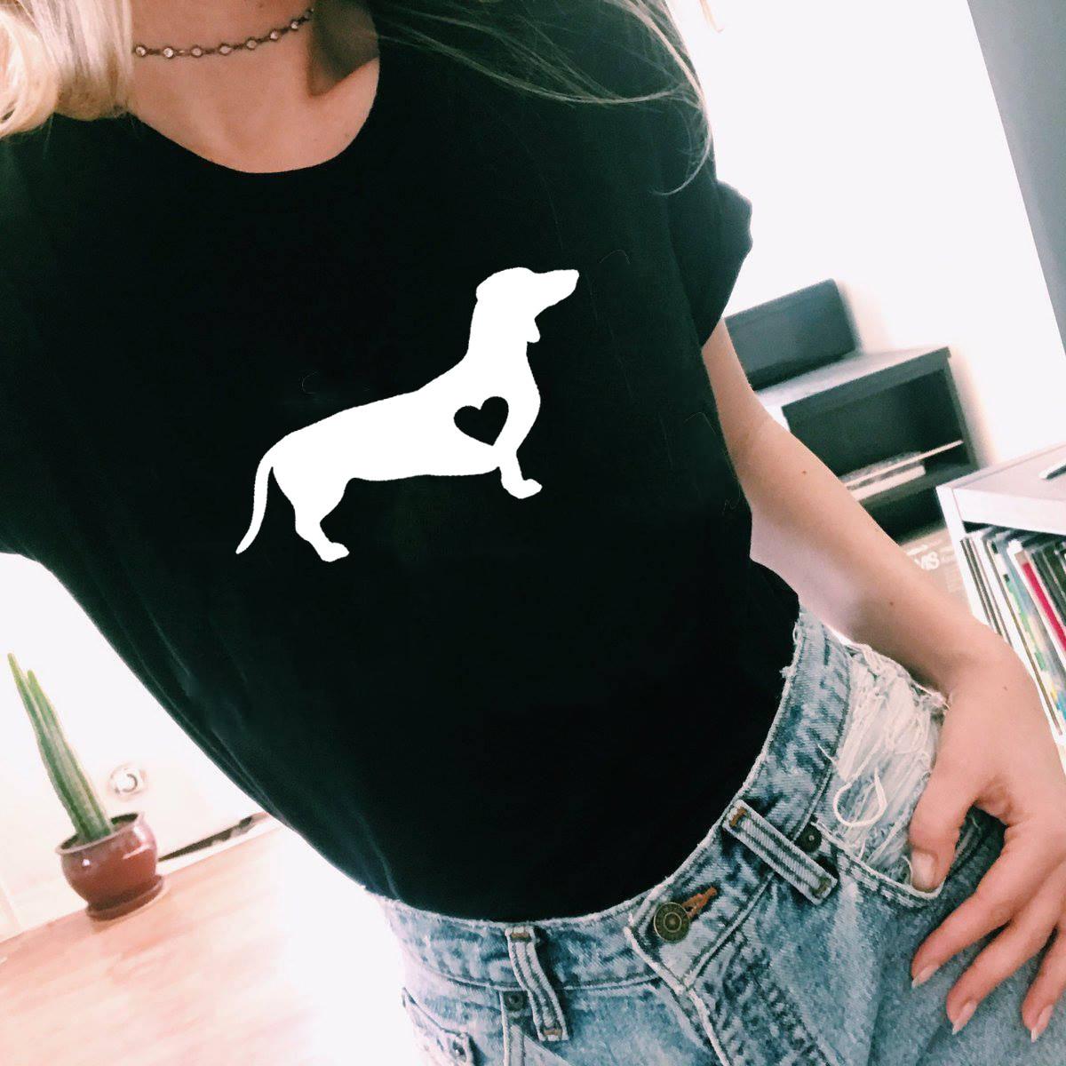 Dachshund Love Dog T-Shirt Doxie Shirt Wiener Dog Shirt Streetwear Tumblr T Shirts Women Causal Graphic Tee Harajuku Tops
