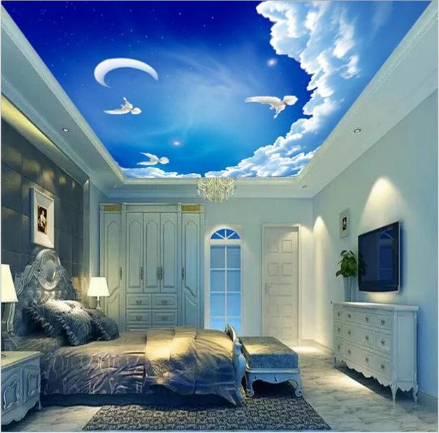Home Decor Wallpapers Ceiling Custom Photo Wall Paper Blue Sky Dove Flying