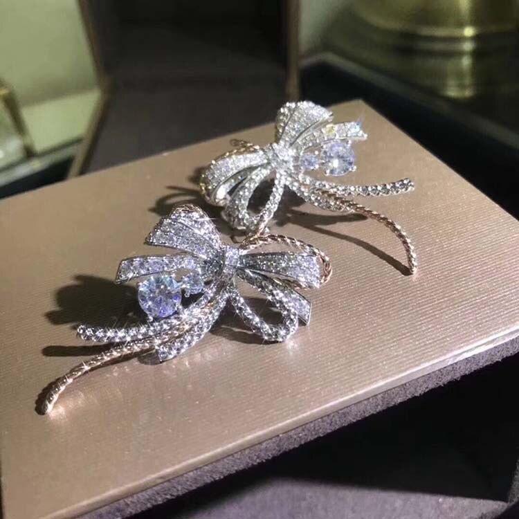 Pur 925 bijoux en argent Sterling pour les femmes boucles d'oreilles de mariage Bowknot boucle d'oreille Rose or argent 2 couleur boucles d'oreilles de fête italie qualité
