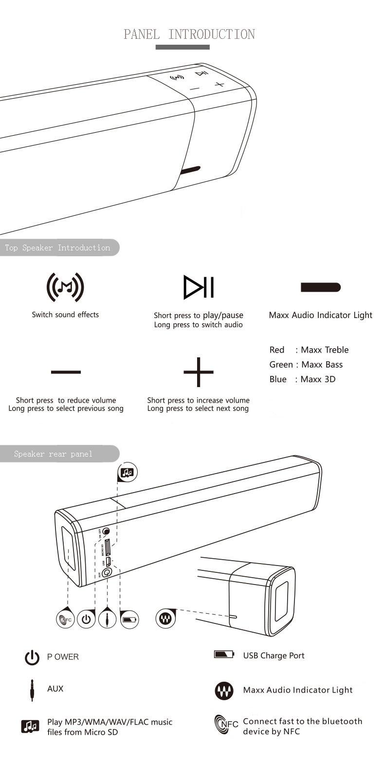 Portable High Quality NFC Bluetooth Speaker Super Bass 20w