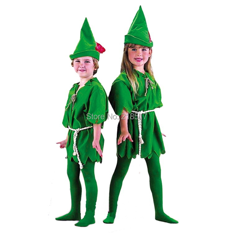 Halloween costume cosplay costumes children's Peter Pan green clothing performance  kid's party green men clothes dress F-1008