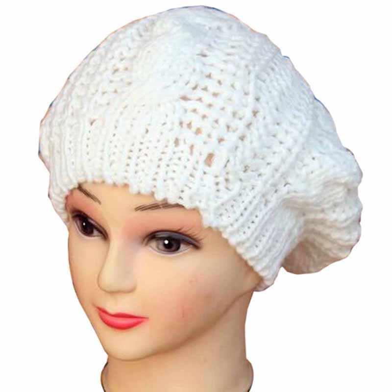 ca18169ef27 Crochet Knitted Women Berets Brand Candy Color Winter Warm Beret Women Desiger  Hats Newsboy