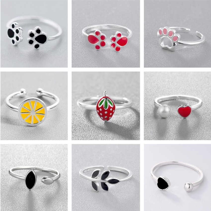 Cxwind เคลือบเรขาคณิตแหวนแฟชั่นสัตว์ Paw ยิ้มผลไม้แหวนผู้หญิงเครื่องประดับ Dropshipping