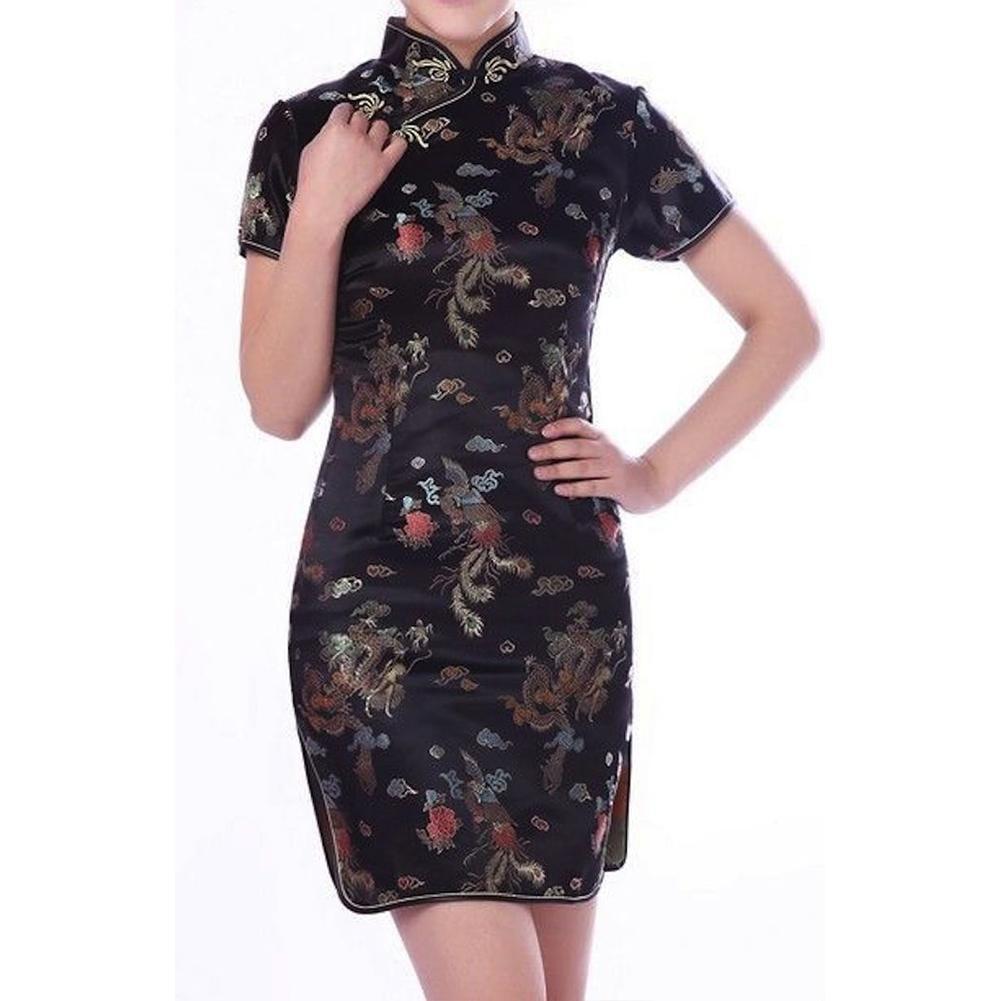 cca3b1b20 Detail Feedback Questions about Black Red Traditional Chinese Dress Mujer  Vestido Women's Satin Qipao Mini Cheongsam Flower Jacquard Cheongsam Size S  2XL on ...