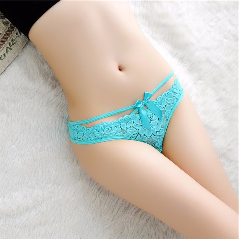 Feitong 2017 Women Sexy Lace Briefs Panties Thongs G-string Lingerie Underwear low-Rise Printing Cotton Bow Tie 6 Colors