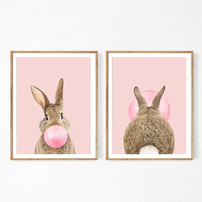 Rabbit Bubble Gum Canvas Art Prints Baby Room Decor