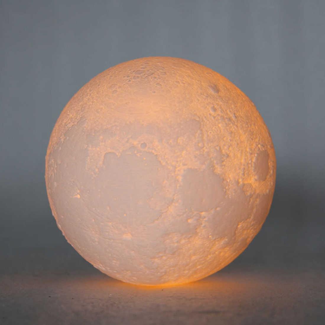 Перезаряжаемая 3D лампа с изображением Луны, 2 цвета, сенсорный выключатель, спальный книжный шкаф, ночник, домашний декор, креативный подарок 8 см-20 см