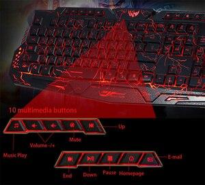 Image 3 - HXSJ דו לשוני אנגלית רוסית 3 מצבי תאורה אחורית משחקי מקלדות גרסת רוסיה מקלדת USB מופעל עבור לאהוב סדקים אש Gam