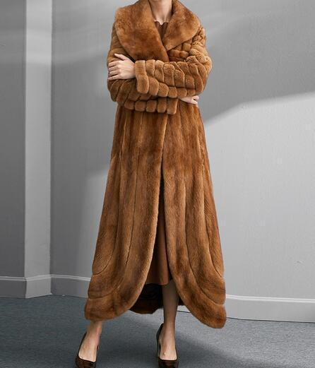 Arlenesain Retro romantic U-shaped petal pendants waist long section of the whole mink coat mink fur coat 740