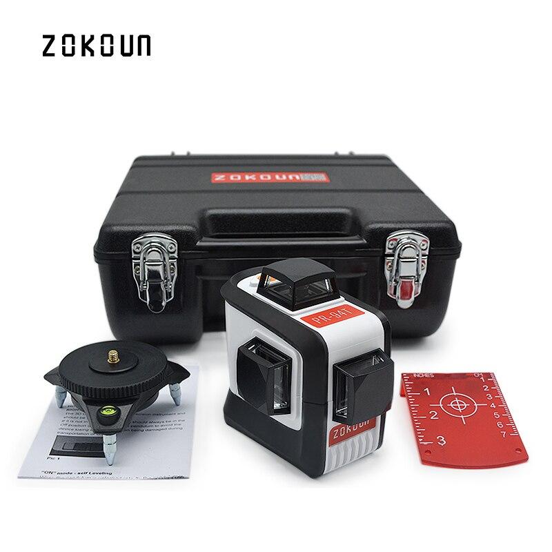 ZOKOUn 12 линий 3D 94 т наливные 360 горизонтальный и вертикальный крест супер мощный красный лазерный луч линии лазерный уровень