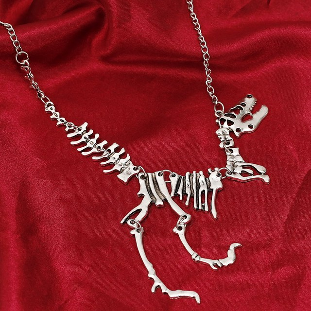 Tyrannosaurus Rex Skeleton Pendant Charm Necklace