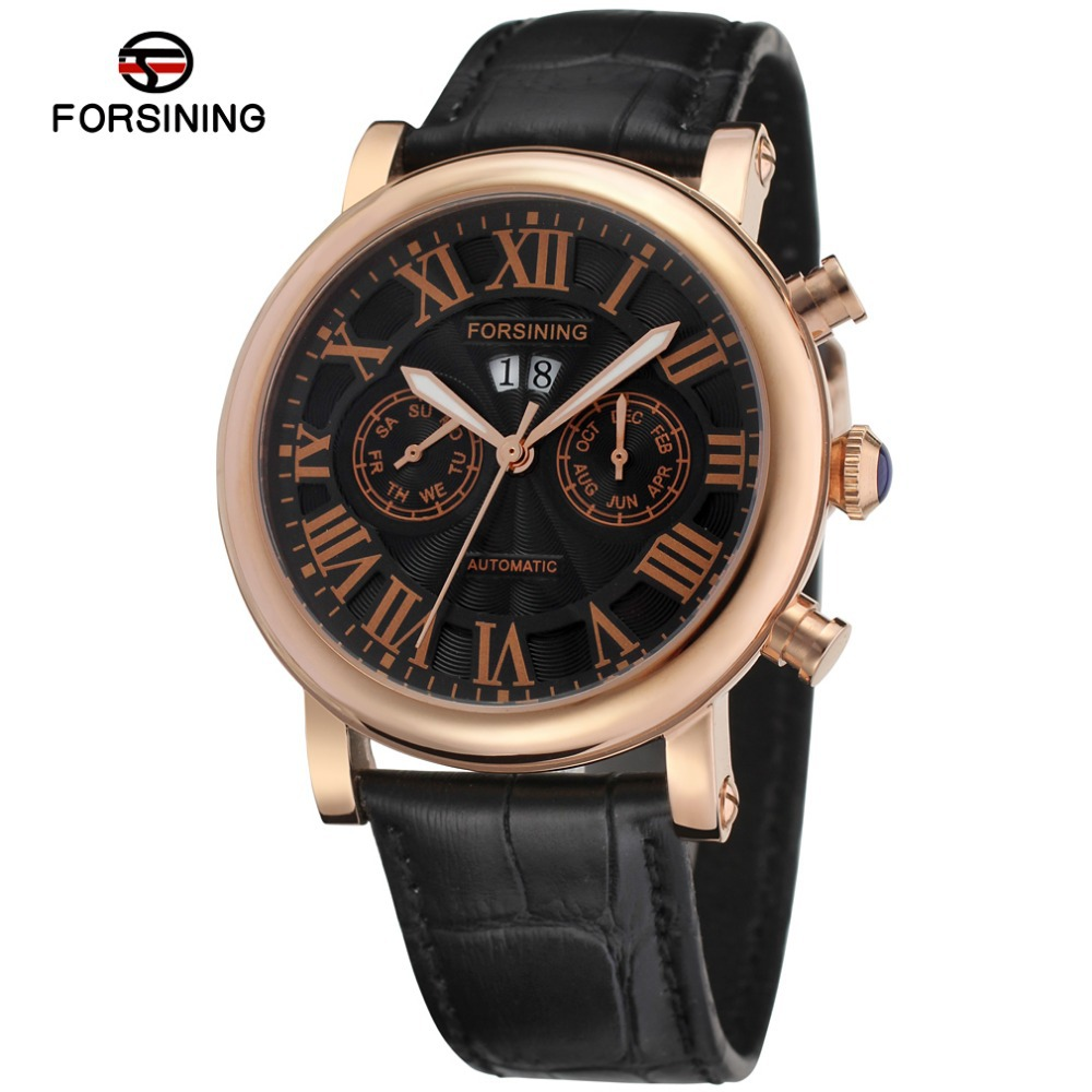 Summer Style Stainless Steel Case Black Dial Rose Gold Color Bezel Black genuine leather tag watch for business men /FSG9407M3R2 agentx brand auto day display rose gold stainless steel case tag heuerwatch wristwatch men business quartz men watch agx042