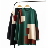 Autumn Winter Patchwork Sweater Dress Long Sleeve O neck Loose Casual Jumpers Women Bottoming Knitwear Top YY8570