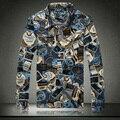 Хлопок-закладки доллар осенне-летний длинными рукавами цветочные свободного покроя мужчины slim-подходят джинсовые рубашки мужские большой размер m-xxxl XXXXL 5XL 3034