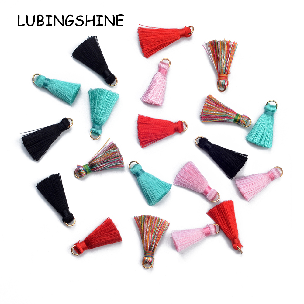 LUBINGSHINE 10pcs/lot Mix Colors Cotton Imitation Silk Satin Small Tassels Charms Diy Making Jewelry Material AccessoriesLUBINGSHINE 10pcs/lot Mix Colors Cotton Imitation Silk Satin Small Tassels Charms Diy Making Jewelry Material Accessories