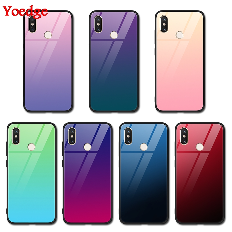 Gradient Tempered Glass Case For <font><b>Xiaomi</b></font> Redmi 7 5 Plus S2 Note 6 5 Pro <font><b>Mi</b></font> 9 A2 5 5S 6 8 SE Lite <font><b>Mix</b></font> 2 <font><b>2s</b></font> Max 3 Protective Cover image