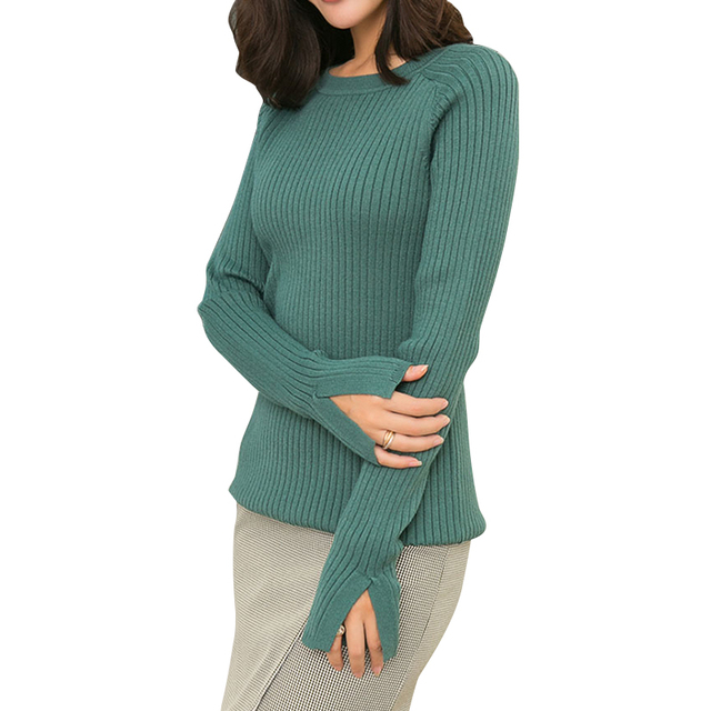 Winter Woman Sweater Knitting Pullovers Green 2018 Fashion Warm Knitted  Jersey Korean Flare Sleeve O- 13a18db0d