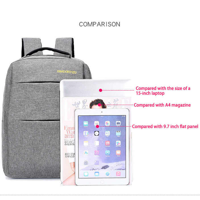 Pria Sederhana Tahan Air Ransel Tiga Potong Kasual Multi Fungsional Bisnis Bagpack USB Pengisian Perjalanan Luar Ruangan untuk Wanita
