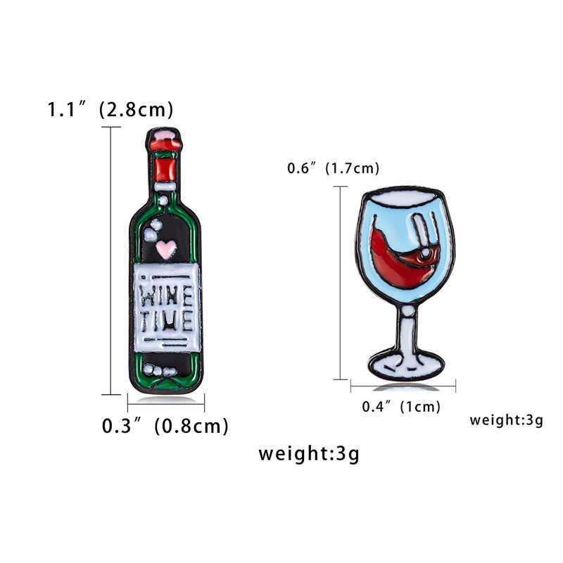 Mini Cute Anggur Waktu Gelas Anggur Pasangan Pin Anggur Merah Botol Bros Enamel Pin Lencana untuk Pecinta Teman Terbaik pin Hadiah Kecil