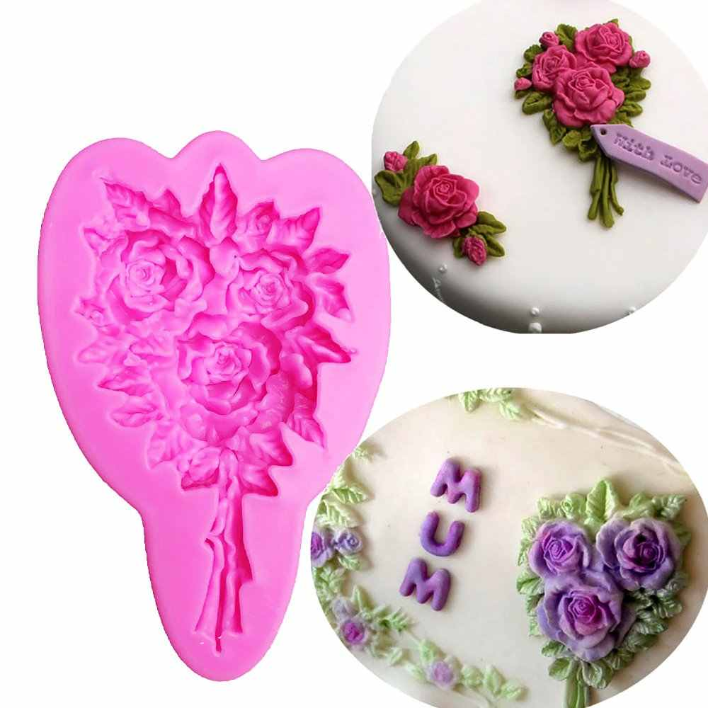 Flower Shape 3D fondant cake silicone mold food grade mastic confeitaria chocolate pastry candy Clay making tools F1062