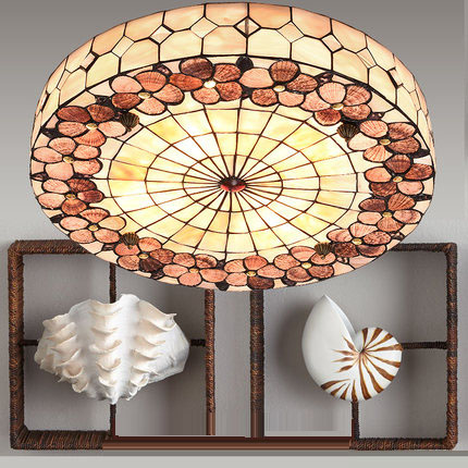 Mediterranean Rural E27 30/40/50cm Round Shell HandmadeTiffany Ceiling Lamps For Living Room Light Fixture