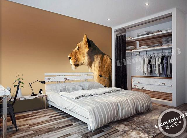 US $18.87 49% OFF|customize 3d wallpaper murals Male lion animal background  wall wallpapers living room photo wallpaper 3d nonwoven wallpaper-in ...