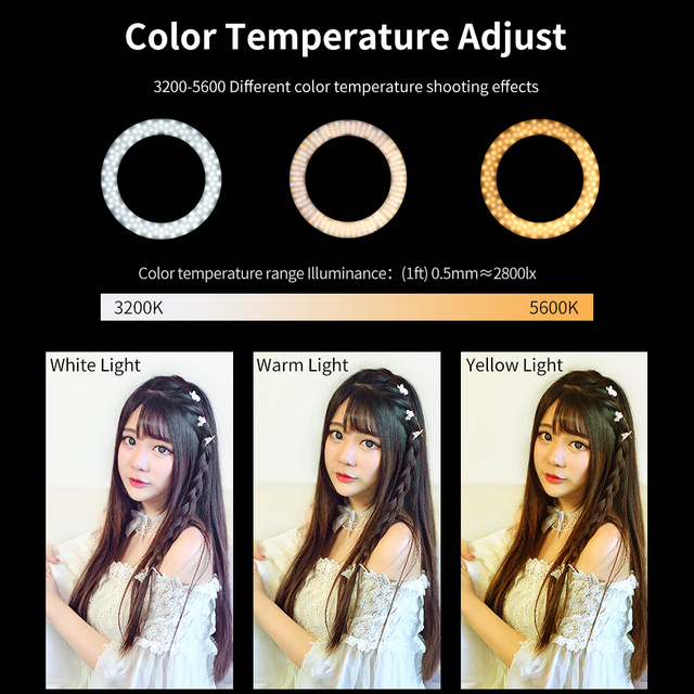 """AMBITFUL RL-480 18"""" 45cm Dimmable LED Ring Light Lamp 60Ws 3000~6000K 480 LED with Light Stand for Photo Video Lighting Kit"""