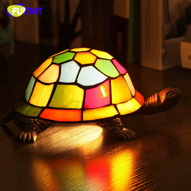 Fumat bedside lamp stained glass turtle light living room home decor fumat bedside lamp stained glass turtle light living room home decor creative table lights kids gift aloadofball Choice Image