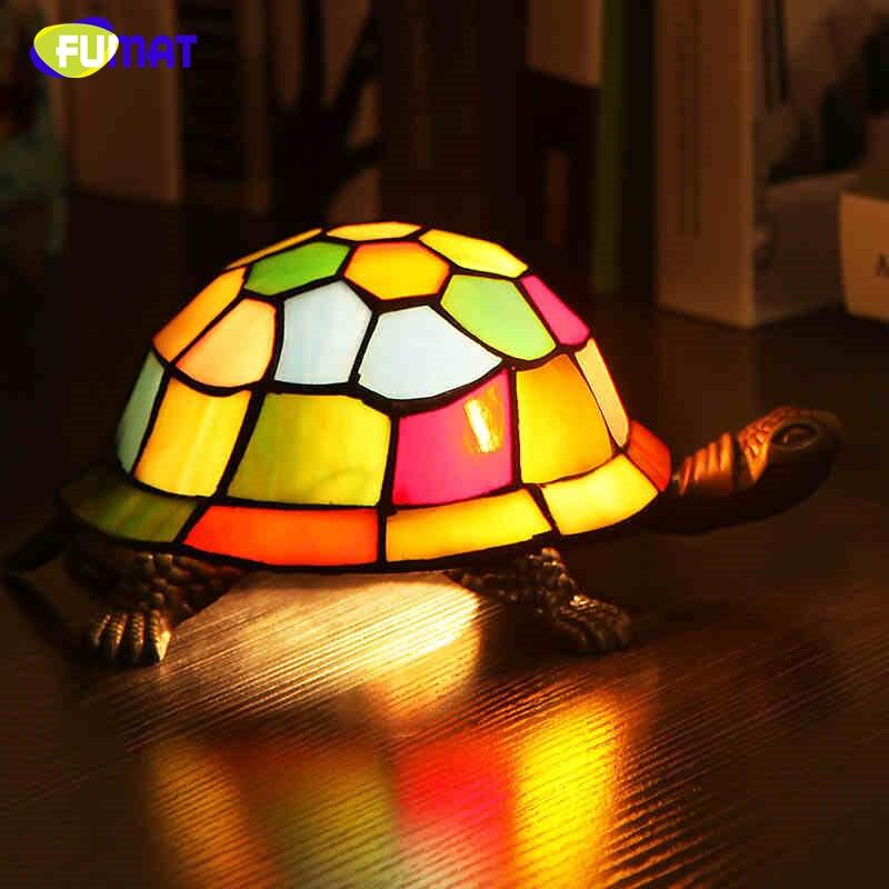 FUMAT lampe de chevet vitrail tortue lumière salon décor à la maison créatif Table lumières enfants cadeau Art verre tortue lampe de Table