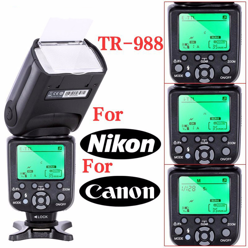 DX-World TRIOPO TR-988 Professional Speedlite TTL Camera Flash with *High Speed Sync* for Canon and Nikon Digital SLR Cameras профессиональная цифровая slr камера nikon d3200 18 55mmvr
