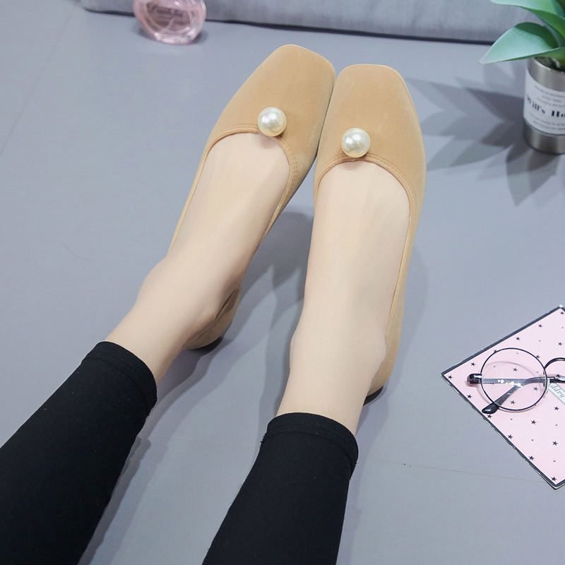 HIZCINTH Ballet Flats 2018 Spring Women Shoes Korean Fashion Square Toe Shallow Mouth Flat Pearl Comfort Single Shoes Loafers lin king fashion pearl pointed toe women flats shoes new arrive flock casual ladies shoes comfortable shallow mouth single shoes