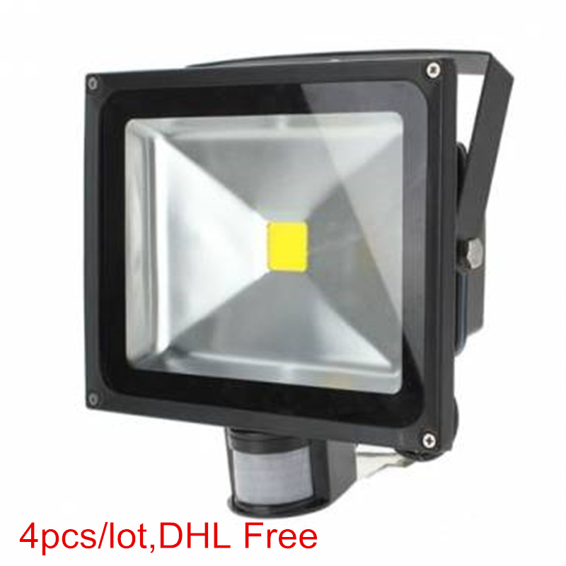 4Pcs PIR Motion Sensor led floodlight 10W 20W 30W 50W 85-265V LED search light projector outdoor light lamp DHL Free free dhl fedex 85 265v 10w 20w 30w 50w 70w 100w pir led floodlight with motion detective sensor outdoor led flood light spot