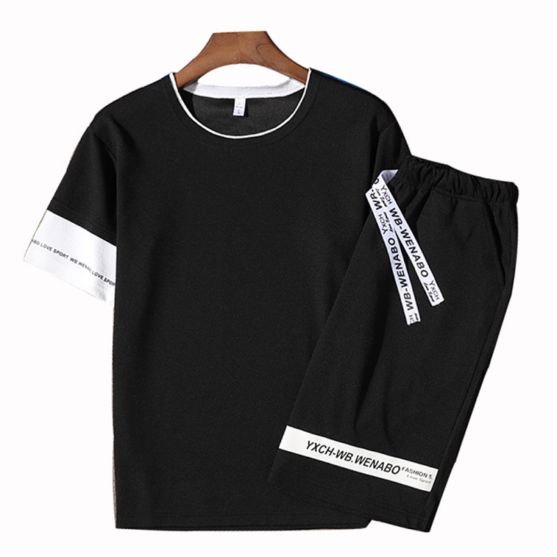 ASALI Autumn 2PCS Tracksuit Men Casual Patchwork Mens Sportwear Set Hoodies Pants Sets Male New Fashion Hoody Suits Letter Print - Цвет: FK099 Black