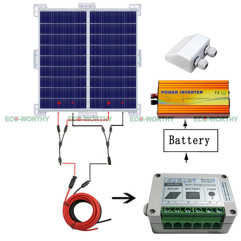 Solar System Kit 2x 100W Solar Panel W/ Corner Bracket off Grid for Caravan solar panel 300w solar module 12v 100w 3pcs lot solar battery charger 12v solar energy system car caravan camping motorhome