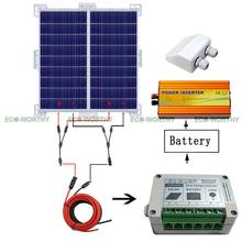 Solar System Kit 2x 100W Solar Panel W/ Corner Bracket off Grid for Caravan