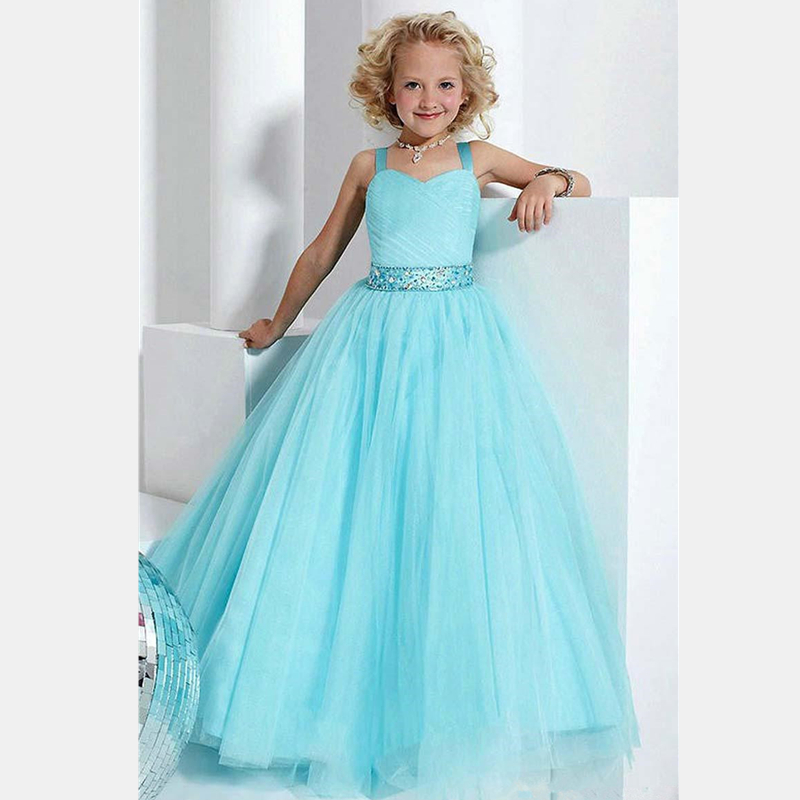 Sky Blue Flower Girl font b Dresses b font Girls Pageant font b Dress b font
