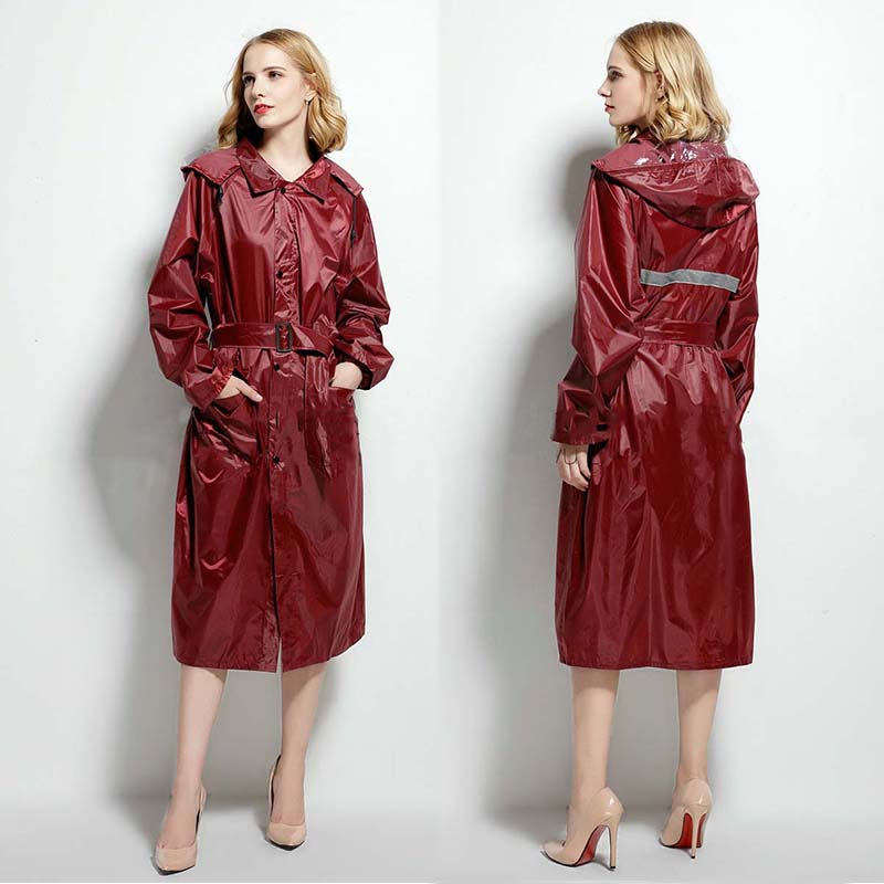 Long Red Stylish Raincoat Hooded Women Waterproof Breathable Ladies Rain Coat Jacket Poncho Outdoor Hiking Pvc Coat Pluie 50yc73