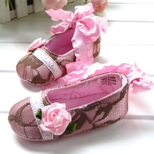 2019 Spring infant baby shoe  hotest Lace rose front strap princess baby toddler shoes q171