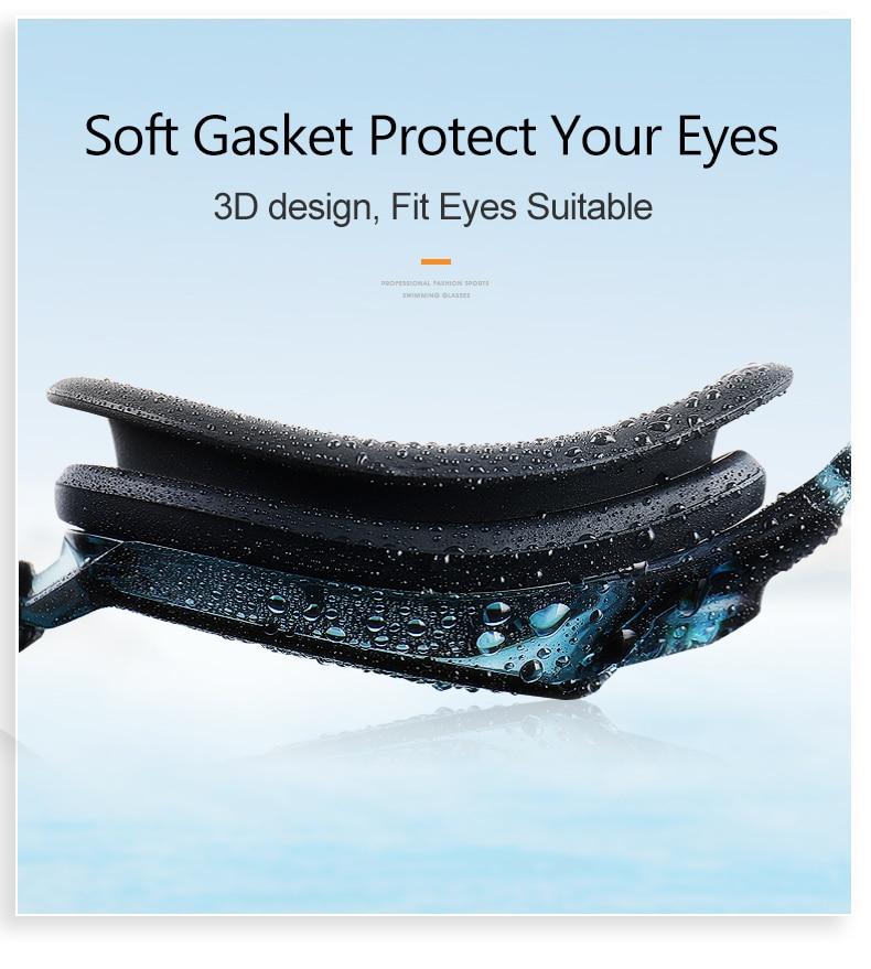 Unisex Professional Myopia Silicone Swimming Pool Glasses Anti Fog Waterproof 14